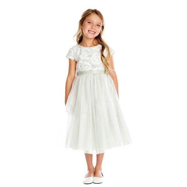 525be6fa385 Sweet Kids Little Girls Gray Floral Sponge Mesh Tulle Flower Girl Dress