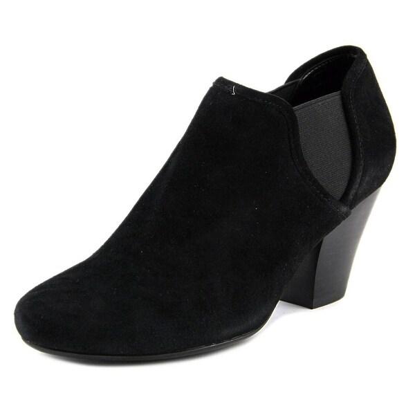 Vaneli jaden Women Round Toe Suede Black Heels