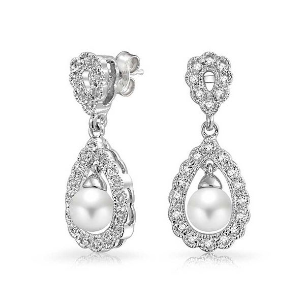 5eda1ba346 Bridal Vintage Style Filigree White Imitation Pearl Teardrop Dangle  Earrings For Women Prom Pageant Silver Plated Brass
