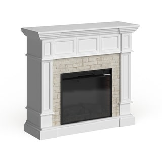 Copper Grove Helianthus White Faux Stone Corner Electric Fireplace
