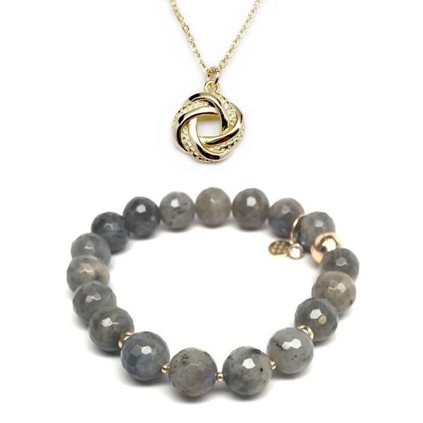 Grey Labradorite Bracelet & Love Knot Gold Charm Necklace Set