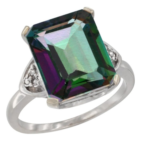 Shop 10K White Gold Natural Mystic Topaz Ring Octagon