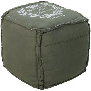"18"" Army Green and Ivory Stylish Cotton Square Pouf Ottoman"