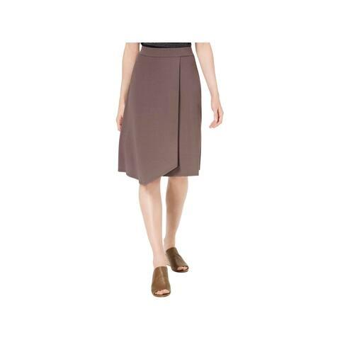 Eileen Fisher Womens A-Line Skirt Jersey Faux Wrap - M