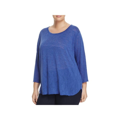 Nally & Millie Womens Plus Casual Top Burnout Round-Neck