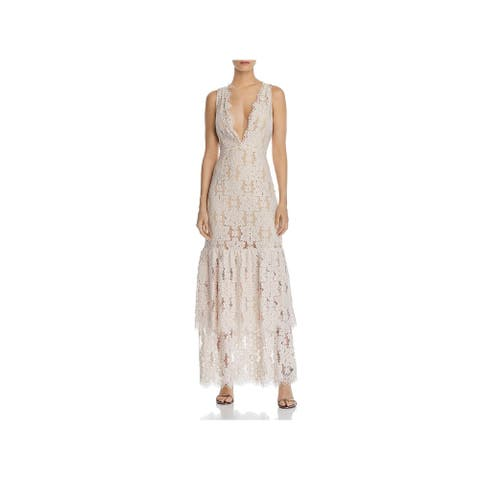 WAYF Womens Maxi Dress Lace Tiered - Ivory/Nude