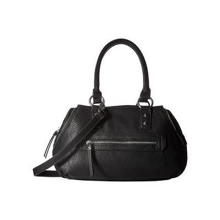Jessica Simpson Womens Marley Satchel Handbag Faux Leather Convertible - Black - MEDIUM