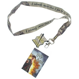 Harry Potter I Solemnly Swear That I Am Up To No Good Lanyard w/ Badge Holder and Marauders Map Rubber Charm