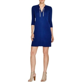 Three Dots Womens Casual Dress Jersey Lace-Up