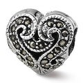Sterling Silver Reflections Marcasite Heart Bead (4mm Diameter Hole) - Thumbnail 0