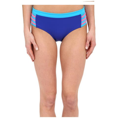 DKNY Blue Womens Size XS Colorblock Hipster Swimwear Bikini Bottom