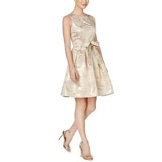 Tommy Hilfiger Metallic-Print Fit & Flare Dress , Gold, 10