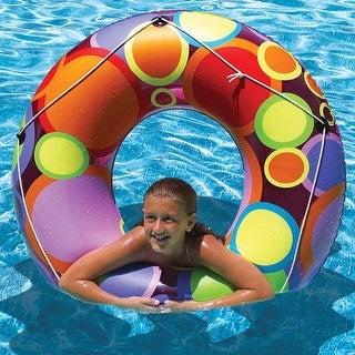"48"" Multi-Colored Bright Retro Circles Inflatable Swimming Pool Inner Tube - Multi"