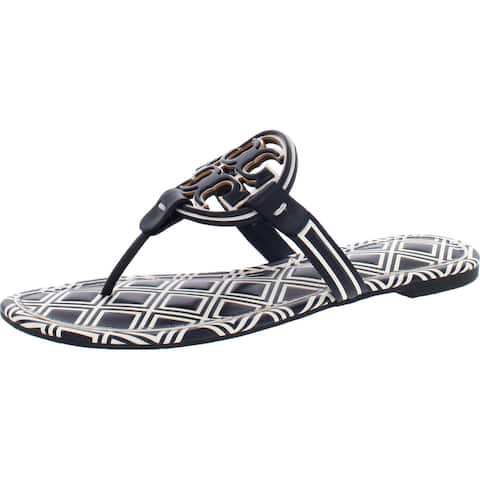 Tory Burch Women's Metal Miller Leather T-Strap Thong Sandal - New Ivory/Perfect Navy