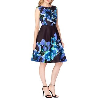 Tahari ASL Womens Wear to Work Dress Jacquard Floral Print