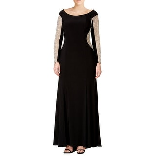 Xscape Plus Size Beaded Stretch Fit Illusion Mesh Panel Evening Gown Dress - 14W
