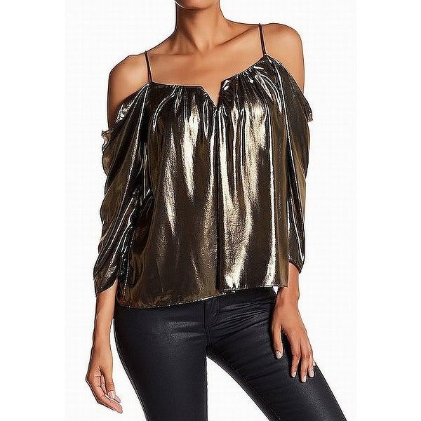 7d750d5fce324 Shop Artelier Gold Womens Small S Split Neck Shiny Cold Shoulder Blouse - Free  Shipping Today - Overstock.com - 22436791