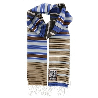 Moschino SCR11243/2 Beige/Blue Stripe Scarf