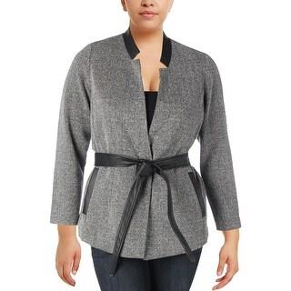 Michel Studio Womens Topper Jacket Textured Faux Leather Trim