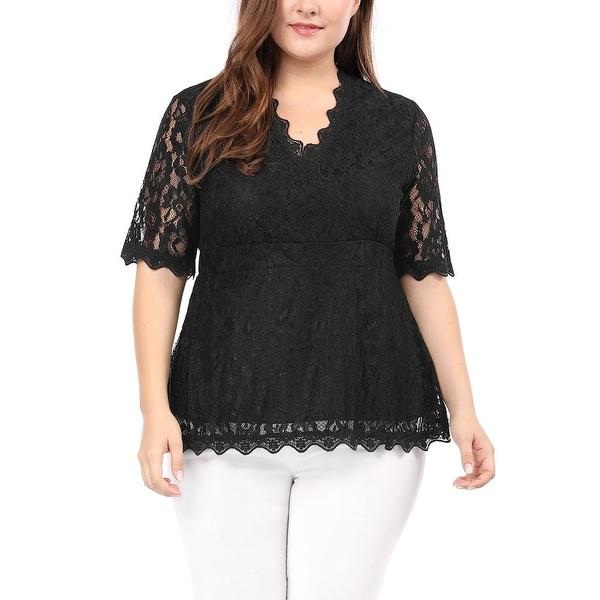 Allegra K Women's Plus Size V Neck Sheer Short Sleeves Scalloped Trim Floral Lace Top