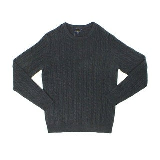 Club Room NEW Gray Mens Size 2XL Cable-Knit Crewneck Cashmere Sweater