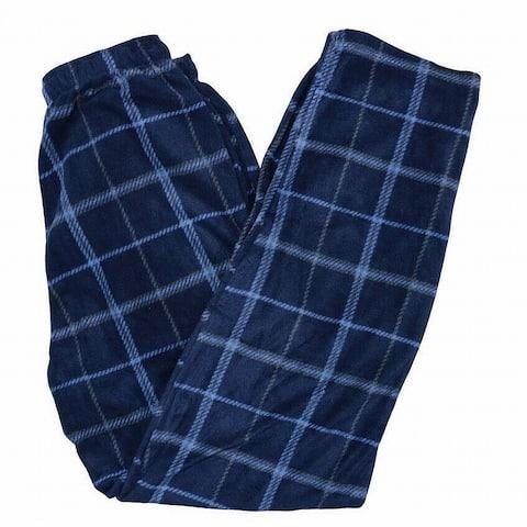 Perry Ellis Men Sleepwear Blue Sz L Comfort Fit Plaid Fleece Pajama Pant