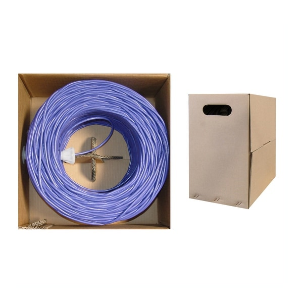 Offex Bulk Cat6 Purple Ethernet Cable, Solid, UTP (Unshielded Twisted Pair), Pullbox, 1000 foot