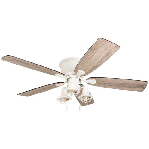 The Gray Barn Houghton 52-inch Coastal Indoor LED Ceiling Fan with Pull Chains 5 Reversible Blades - 52