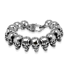 Biker Skull Cast Stainless Steel Bracelet (24 mm) - 8.75 in
