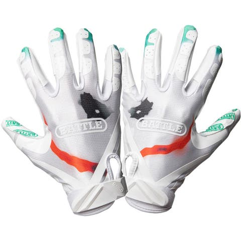 Battle Sports Science Villain Cloaked Ultra-Stick Football Gloves - White