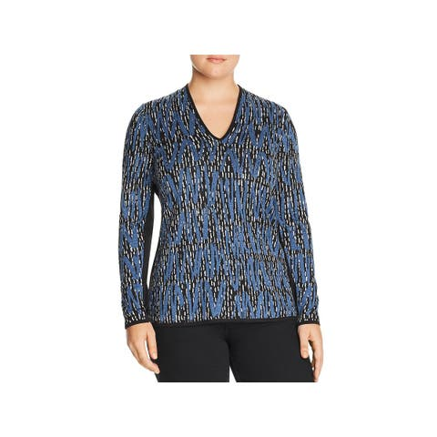 Nic + Zoe Womens Pullover Top Printed V-Neck