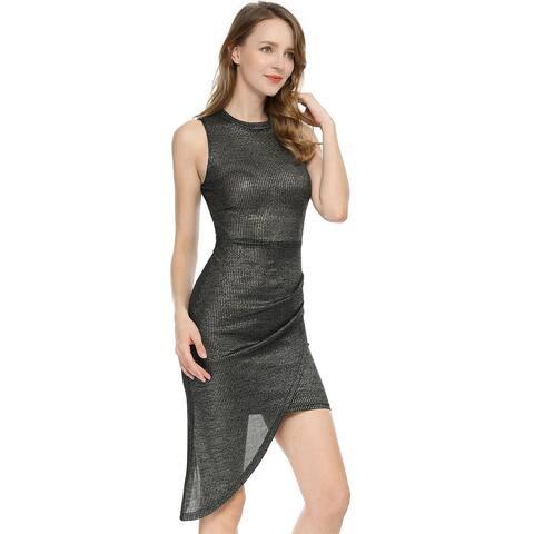 Women's Metallic Shiny Asymmetrical Drape Bodycon Party Dress