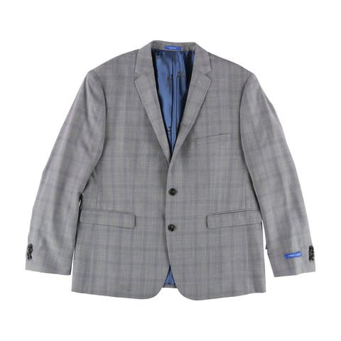 Vince Camuto Mens Shadow Windowpane Two Button Blazer Jacket