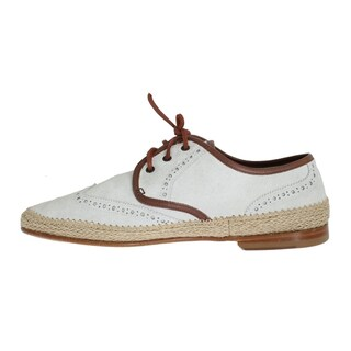 Dolce & Gabbana White Brown Leather Dress Shoes
