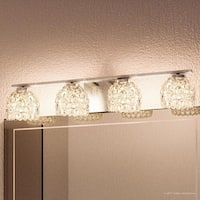 """Luxury Modern Bathroom Vanity Light, 5.5""""H x 27.5""""W, with Eclectic Style, Chopped Ice Design, Polished Chrome Finish"""