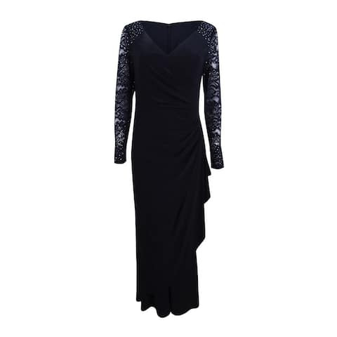 Alex Evenings Women's Embellished Lace Gathered Faux-Wrap Gown - Black