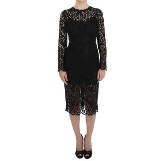 Dolce & Gabbana Black Ricamo Sheath Long Sleeve Dress - it38-xs
