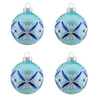 "4ct Matte Teal Green with White & Blue Floral Design Glass Ball Christmas Ornaments 2.5"" (65mm)"