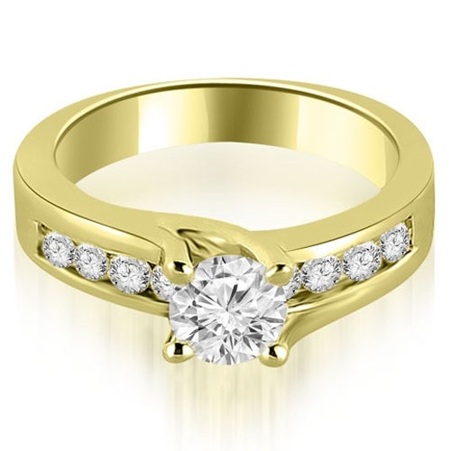 0.80 cttw. 14K Yellow Gold Round Cut Channel Engagement Diamond Ring