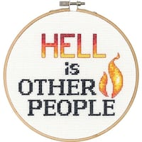 """Say It! Hell Counted Cross Stitch Kit-6"""" Round 14 Count"""