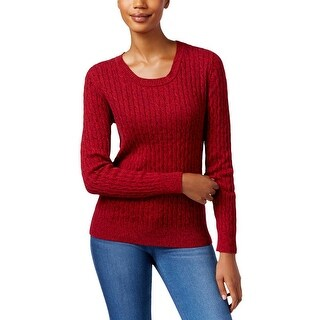 Karen Scott Womens Crewneck Sweater Marled Cable-Knit