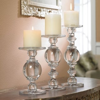 Candlestick Set - Solid Glass Baluster Pillar Candlehonders - Set of 3