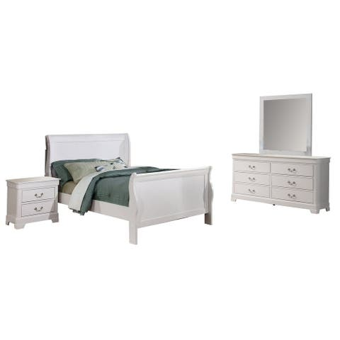 Traditional 4 Piece Wooden Twin Sleigh Bedroom Set, White