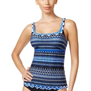 Profile by Gottex Womens Tankini Top 8 Indigo Girl Ruffled Blue Multi Swimsuit