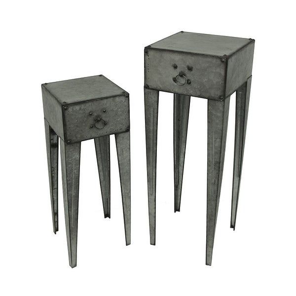 Galvanized Metal Tall Side Table Set Of 2 With Drawer   Silver