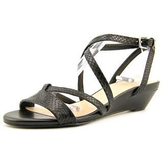 Cole Haan Kierin. Sandal. II Women Open-Toe Leather Black Slingback Sandal