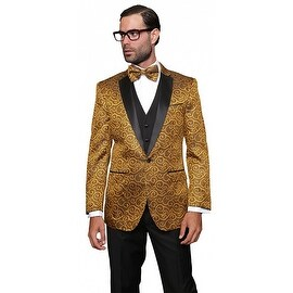 BELLAGIO Men's 3pc Gold Suit, Modern Fit, 2 Button, 2 Side Vent, solid black Flat Front Pants