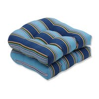 """Set of 2 Blue Awning Stripe Tufted Outdoor Patio Wicker Seat Cushions 19"""" - Green"""