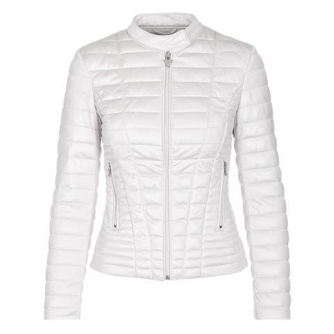 Guess Womens Vona Quilted Jacket Medium True White