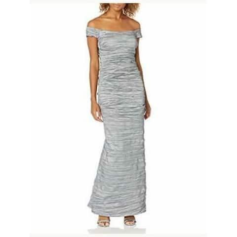 Alex Evenings Women's Dress Silver Size 6 Bandage Off Shoulder Gown